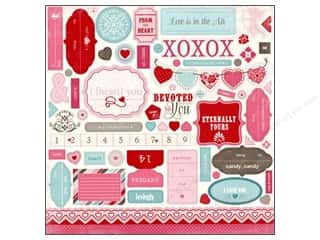 Carta Bella Hearts: Carta Bella Sticker 12 x 12 in. Devoted Element (15 sets)