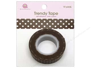 Queen&amp;Co Trendy Tape 10yd Polka Dot Brown