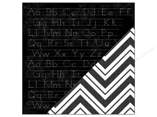 Bazzill Paper 12x12 School Days Chalkboard/Chevron