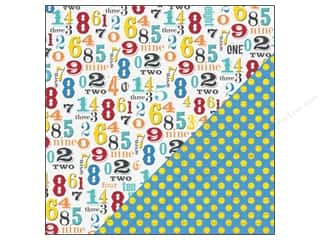 Bazzill Papers: Bazzill Paper 12x12 School Days Numbers/Polka Dot 25pc
