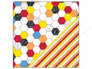 bazzill paper 12 x 12: Bazzill Paper 12x12 School Days Hexagon/Stripe 25pc