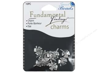 Saint Patrick's Day Miscellaneous Sewing Supplies: Sweet Beads Fundamental Finding Charm 4 Leaf Clover Silver 10pc