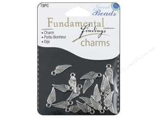 Beading & Jewelry Making Supplies Sweet Beads EWC Fundamental Finding: Sweet Beads Fundamental Finding Charm Small Wings Silver 18pc