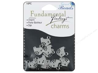 Sweet Beads Charm Modern Bird Silver 10pc