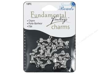 Sweet Beads Charm Dogbone Silver 18pc