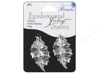 Sweet Beads Charm Leaves Silver 2pc