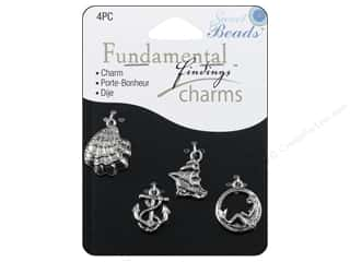 Beach & Nautical Beading & Jewelry Making Supplies: Sweet Beads Fundamental Finding Charm Seashore Silver 4pc