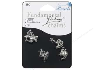 Sweet Beads EWC Brown: Sweet Beads Fundamental Finding Charms 4 pc. Tea Party Silver