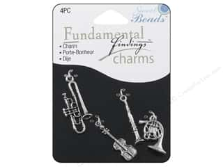 Sweet Beads Charm Music Silver 4pc