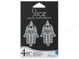 Sweet Beads Slice Metal Pendant Hand Silver 4pc