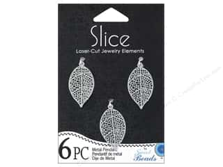 Sweet Beads Metal Pendant Leaf 16 x 27 mm Silver 6pc