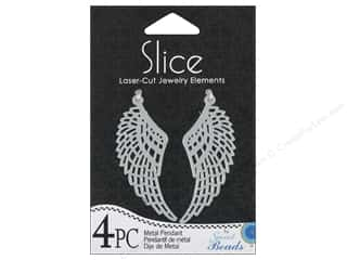 Metal Beading & Jewelry Making Supplies: Sweet Beads Slice Metal Pendant Wing Silver 4pc