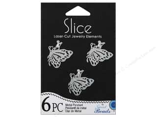 Sweet Beads EWC Sweet Beads Slice Pendants: Sweet Beads Slice Metal Pendant Small Butterfly Silver 6pc