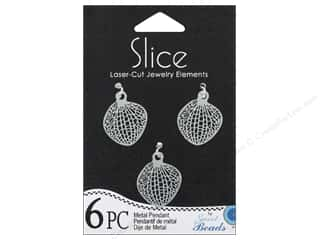 Slice by Elan $3 - $6: Sweet Beads Slice Metal Pendant Leaf 20 x 22 mm Silver 6pc