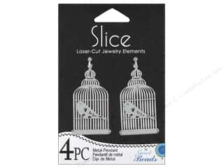 Sweet Beads EWC Sweet Beads Slice Pendants: Sweet Beads Slice Metal Pendant Birdcage Silver 4pc