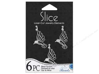 Sweet Beads EWC Sweet Beads Slice Pendants: Sweet Beads Slice Metal Pendant Hummingbird Silver 6pc