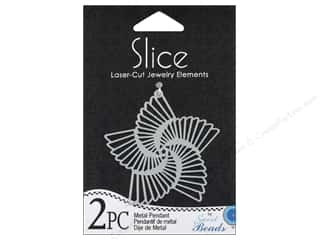 Beading & Jewelry Making Supplies Scrapbooking & Paper Crafts: Sweet Beads Slice Metal Pendant 5 Point Star Silver 2pc