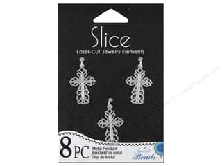 Sweet Beads Slice Metal Pendant Cross Silver 8pc