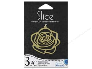 Beading & Jewelry Making Supplies Scrapbooking & Paper Crafts: Sweet Beads Slice Metal Pendant Rose Gold 3pc