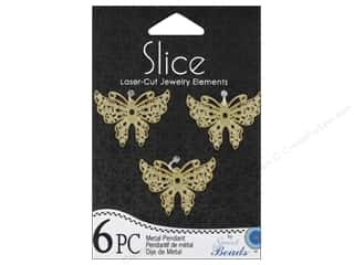 Sweet Beads EWC Sweet Beads Slice Pendants: Sweet Beads Slice Metal Pendant Medium Butterfly Gold 6pc