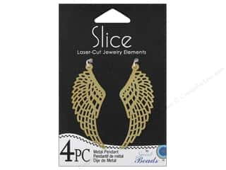 Metal Beading & Jewelry Making Supplies: Sweet Beads Slice Metal Pendant Wing Gold 4pc