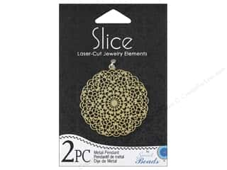 Sweet Beads Slice Metal Pendant Round 38 mm Gold 2pc