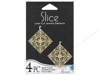 Charms and Pendants mm: Sweet Beads Slice Metal Pendant Diamond 32 mm Gold 4pc