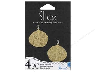 Sweet Beads Slice Metal Pendant Leaf 28 mm Gold 4pc
