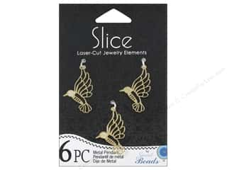 Sweet Beads EWC Sweet Beads Slice Pendants: Sweet Beads Slice Metal Pendant Hummingbird Gold 6pc