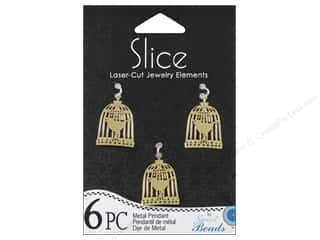 Sweet Beads Slice Metal Pendant Birdcage Gold 6pc