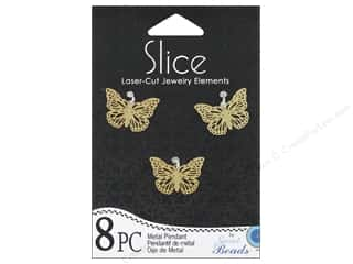 Sweet Beads EWC Sweet Beads Slice Pendants: Sweet Beads Slice Metal Pendant Small Butterfly Gold 8pc
