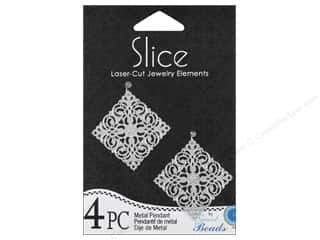 pendants jewelry: Sweet Beads Slice Metal Pendant 1 1/4 in. Diamond 4 pc. Silver