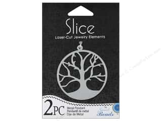 Metal Beading & Jewelry Making Supplies: Sweet Beads Slice Metal Pendant Tree Silver 2pc