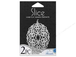 Sweet Beads EWC Sweet Beads Slice Pendants: Sweet Beads Slice Metal Pendant Oval Silver 2pc