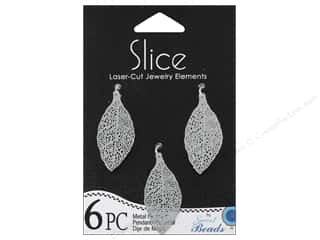 Sweet Beads Metal Pendant Leaf 16 mm x 32 mm Silver 6pc