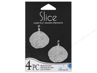 Sweet Beads Slice Metal Pendant Leaf 28 x 22 mm 4 pc. Silver
