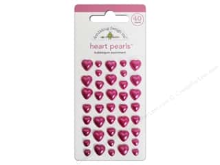 sticker: Doodlebug Heart Pearls Stickers Bubblegum