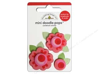 Doodlebug Doodle-Pops 3-D Stickers Mini Roses are Red