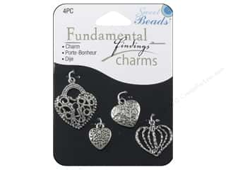 Sweet Beads Charm Hearts Silver 4pc