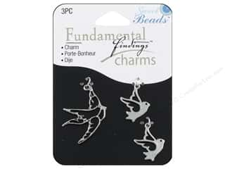 Sweet Beads Charm Birds Silver 3pc