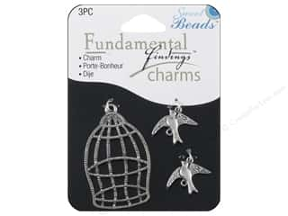 Sweet Beads Charm Birds & Cage Silver 3pc