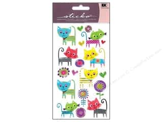 Pets Stickers: EK Sticko Stickers Sparkler Patterned Kitties