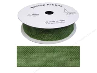 "SPC Ribbon Spool Burlap 1.5"" Green 12ft"