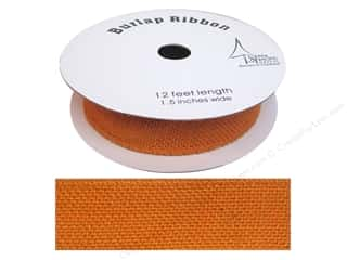 "SPC Ribbon Spool Burlap 1.5"" Orange 12ft"