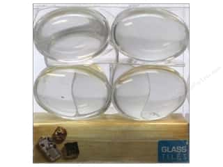 Glass Clearance Crafts: Sierra Pacific Decor Glass Tiles Jewelry Oval 22x30mm 16pc