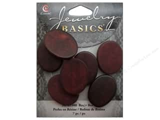 Cousin Bead Resin Oval 19mm x 26mm Red 7pc
