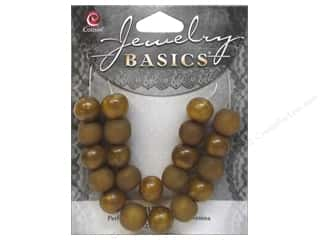 Resin/Synthetic Bead: Cousin Bead Resin Round 10mm Gold 21pc