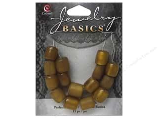 Cousin Bead Resin Tube 9mm x 10mm Gold 15pc