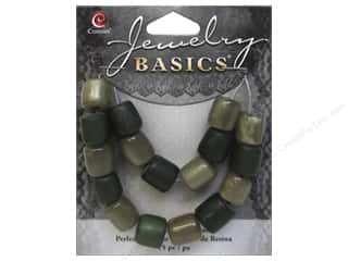Cousin Bead Resin Tube 9mm x 10mm Green 15pc