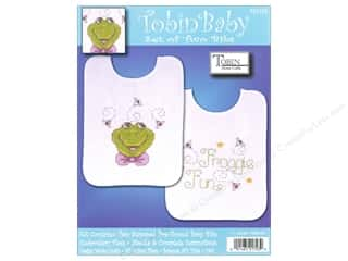 Tobin Yarn Kits: Tobin Kit Stamped Baby Bibs Froggie Fun 2pc